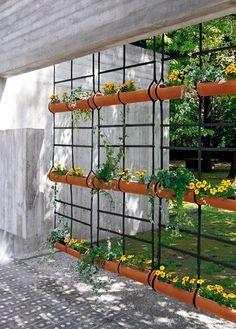Jardín colgante de macetas