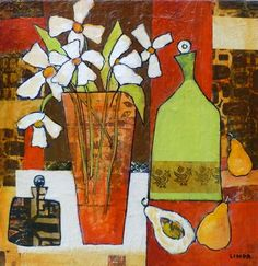 Wonky Pots (white flowers) - Linda Bell   Collage Artist