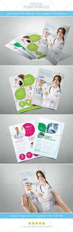 Premium Medical Flyers #GraphicRiver Features: • 4 different styles included • Fully Editable Files (w Guidelines) • Well Organized Layers • A4 size(3mm Bleeds) • 300DPI | CMYK Colors | Print ready • Help file included Fonts: • Nexa fontfabric /nexa-free-font Important Stock images aren't included, I used it for the illustration purpose only (plz contact me if you want the download link) Created: 22May13 GraphicsFilesIncluded: PhotoshopPSD #JPGImage Layered: Yes MinimumAdobeCSVersion: CS3…