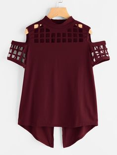 a84ce661824b1 Tee-shirt épaules dénudées découpé fendu-French SheIn(Sheinside) Atelier