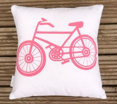 NEW - screen printed retro Pink Bike cushion pillow by Jane Foster on Etsy, $20.00