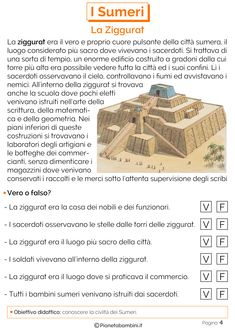 I Sumeri: Schede didattiche per la Scuola Primaria | PianetaBambini.it Ancient Greece, Ancient Egypt, Romans For Kids, Reading Practice, New Years Eve Party, Essay Writing, Middle School, 3 D, Improve Yourself