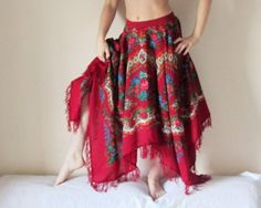 Gipsy style skirt made from folk scarf | Recyclart
