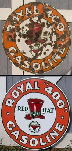 Red hat royal 400 porcelain sign