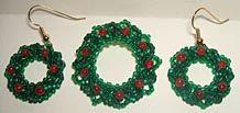 Holiday Wreath Bead Pin & Earrings Pattern at Sova-Enterprises.com