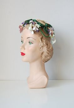 "I adore these little ""doll hats""  This one is vintage 1940s -- so cute for a spring wedding.  Or any time, really. :)"