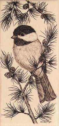 """Chickadee in pine tree"" - Scrimshaw on fossil mastodon ivory -- I don't like this chickadee per-se, but I love the idea on having it perched on loose branches."