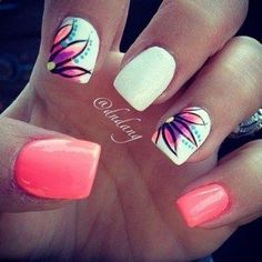 Give a fresh look on your nails with this amazing looking summer nail art design. The nails are coated with white and salmon matte and topped with colorful flowers. If you want to have cute and simple looking summer nails, this is a good ensemble for you. Flower Nail Designs, Short Nail Designs, Flower Nail Art, Cute Nail Designs, Acrylic Nail Designs, Nail Designs For Spring, Tropical Nail Designs, Pedicure Designs, Fancy Nail Art