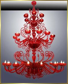 Red Glass Chandelier in 2020 Red Chandelier, Chandelier Lighting, Crystal Chandeliers, Red Glass, Glass Art, Vintage Lamps, Shades Of Red, My Favorite Color, Decoration