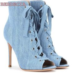 f1042f247151 Peep toe blue denim lace up short boots thin heel woman sandal boots young  ladies favorite shoes free shiopping female boots
