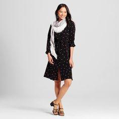 Women's Pleat Back Dress Black Polka Dot XL - Who What Wear