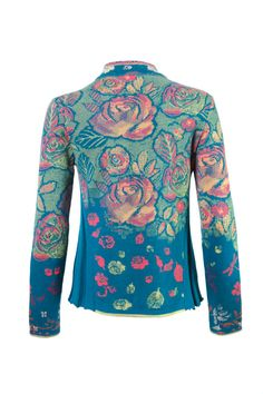 Multicolor wool floral blazer featuring notched lapels, a front button fastening and long sleeves. It looks especially striking against head-to-toe black.