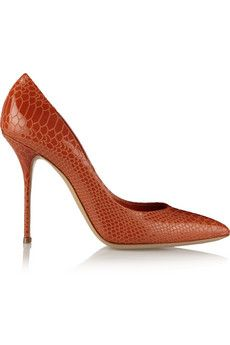 Casadei Snake-effect patent-leather pumps | THE OUTNET