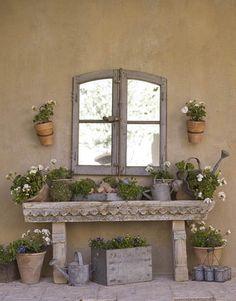 garden table potting table mirror in garden