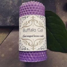 Medium PURPLE  hand wrapped Beeswax Candle // Unscented // Buffalo Gal Home Collection by BuffaloGalOrganics on Etsy