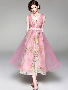 Pink Two-piece Floral Print Chiffon Maxi Dress