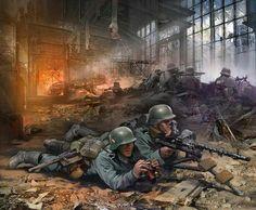 Ivan Hivrenko - Stalingrad - Wehrmacht gunners in the destroyed shop Military Art, Military History, Military Units, Mg34, Military Drawings, Ww2 History, War Machine, Machine Guns, German Army