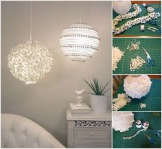 Flower and Pom Pom Lanterns...Amazing DIY Paper Lanterns and Lamps to Brighten Your Home #diy #lamp #lanterns