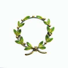 Antique Newark Art Nouveau 14k Enamel Laurel Wreath Brooch