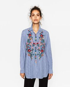 Women Blouses 2017 Casual Floral Embroidery stripe Shirt Long Sleeve Turn  Down Collar Tops Striped Blusas Femme Loose Blouse 1bcb89aad7a