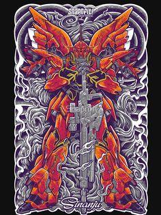 """Sinanju"" T-shirt by Snapnfit Vintage Robots, Gundam Art, Gunpla Custom, Shirt Print Design, Retro Video Games, Dope Art, Mobile Suit, Pulp Fiction, Tshirt Colors"