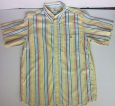 Mens #Lacoste Size L Large Short Sleeve Shirt 42 BLUE WHITE Yellow Red Striped - SOLD