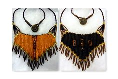 """""""Gold/Brown Reversible"""" - 2013 - Fixed length choker, vintage button closure, beads woven in, reversible.  SOLD.  Woven by Terri Scache Harris, theravenscache.shutterfly.com   Hand woven, handwoven, weaving, weave, needleweaving, pin weaving, woven necklace, fashion necklace, wearable art, fiber art."""