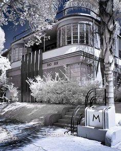 Art Deco House in the snow: Mauretania 1934, By Milton J. Black Architect, photo by Michael Locke.