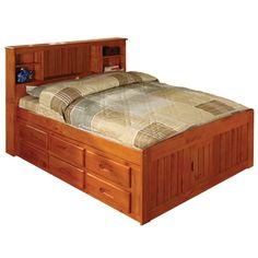 Honey Pine Full Bookcase Bed