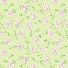 Daisy Vine light green | jillbyers | Spoonflower custom fabric