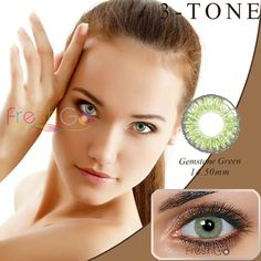 Gemstone Green Color Contacts by Freshgo  #hairinspirations #newlook #gorgeoushair