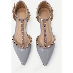 Grey Faux Patent Studded T-Strap Flats (760 MXN) ❤ liked on Polyvore featuring shoes, flats, pointy-toe flats, gray flat shoes, pointed-toe flats, studded flats and studded t strap flats