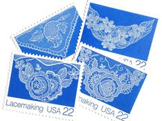 12 Unused Lace Stamps // Vintage Blue and White Lacemaking 22 Cent Postage // Stamps for Mailing White Lace, Blue And White, Shipping Envelopes, Postage Rates, Lacemaking, Vintage Stamps, Make Arrangements, Lace Design, Vintage Lace