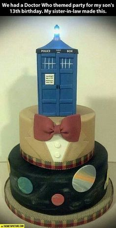 Doctor Who Cake-do bottom layer as bowtie layer.  then do middle layer as fez.