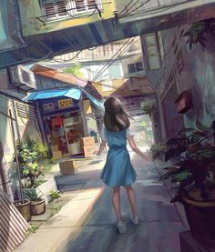 Girl walking with buildings around her