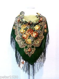"""Beautiful Original Pavlovo Posad (Pavloposad) Russian shawl with silk fringes.  Material: 100% wool New item with tags. Size:  35'' x 35'' / 89 cm x 89 cm (measured without fringes) Article number: 779-10 Elegant shawl with elaborate floral design """"The Stranger"""", created by the Russian artist Natalia Belokur."""