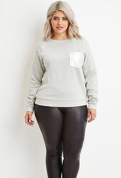 Plus Size Metallic Knit Sweatshirt   Forever 21 PLUS - 2000165023