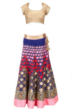 Indigo blue embroidered patchwork lehenga set available only at Pernia's Pop-Up Shop.
