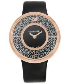Swarovski Women's Swiss Crystalline Black Calfskin Leather Strap Watch 40mm