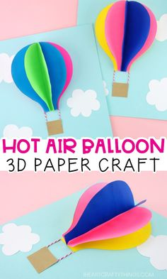 Use our free template to create this gorgeous paper hot air balloon craft. Fun paper craft and summer craft for preschoolers and kids of all ages. Summer Crafts For Kids, Easy Crafts For Kids, Summer Kids, Craft Kids, Creative Activities For Kids, Craft Art, Craft Activities, Physical Activities, 3d Paper Crafts