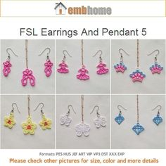 FSL Earrings And Pendant 5 Free Standing Lace Machine Embroidery Designs Instant Download 4x4 hoop 10 designs APE2045