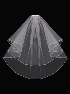 2T Bridal Veil with a Pearl and Bead Zig-Zag Trim