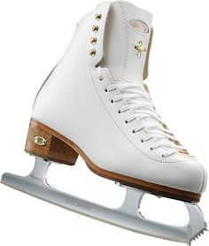 The redesigned 1375 Gold Star ice figure skate shines brightly with refreshed styling, new reinforced tongue design and cork/leather heels.
