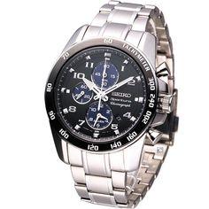 SEIKO Men Sportura Chronograph Watch Black SNAE63J1