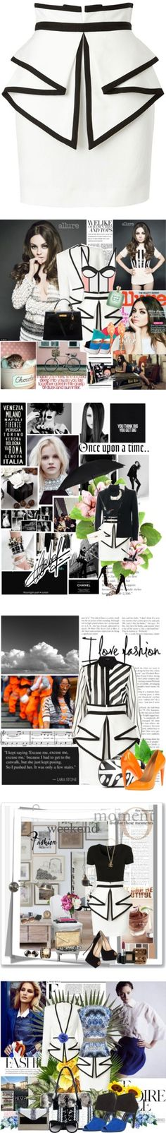 """""""5 Ways to Go Zigzag with Sass & Bide's Peplum Skirt"""" by polyvore-editorial ❤ liked on Polyvore"""