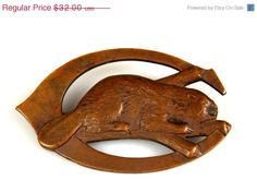 On Sale Vintage Copper Beaver Brooch by TheFashionDen on Etsy