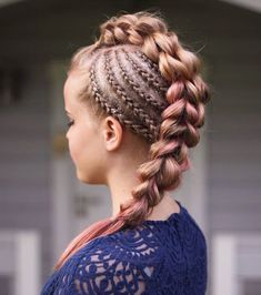 Cornrows and three strand pull-through braid by Alina