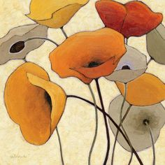 """Alcott Hill Pumpkin Poppies III' Painting Print on Wrapped Canvas Size: 18"""" H x 18"""" W x 0.75"""" D"""