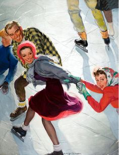 """Emery Clarke, """"Ice Skaters,"""" cover art, Saturday Evening Post, March 2, 1940."""