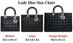 Lady Dior size chart